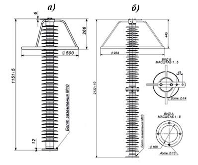 ОПН подвесного исполнения: а) ОПН 110кВ; б) ОПН 220кВ