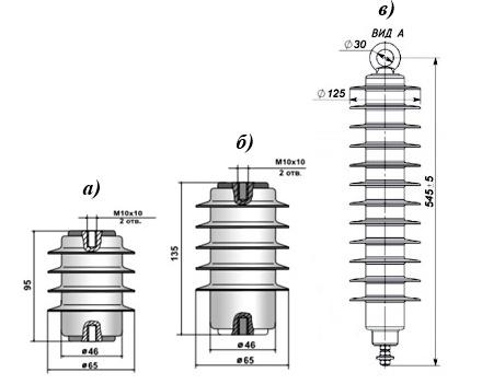 ОПН подвесного исполнения: а) ОПН 6кВ; б) ОПН 10кВ; в) ОПН 35кВ